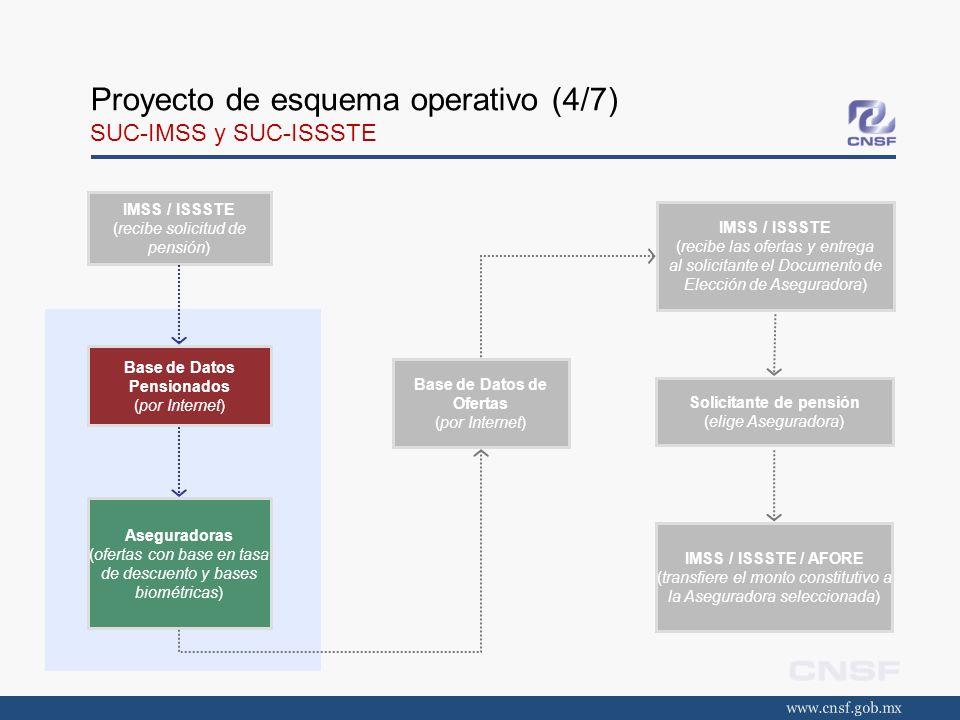 Proyecto de esquema operativo (4/7) SUC-IMSS y SUC-ISSSTE IMSS / ISSSTE (recibe solicitud de pensión) Base de Datos Pensionados (por Internet) Asegura