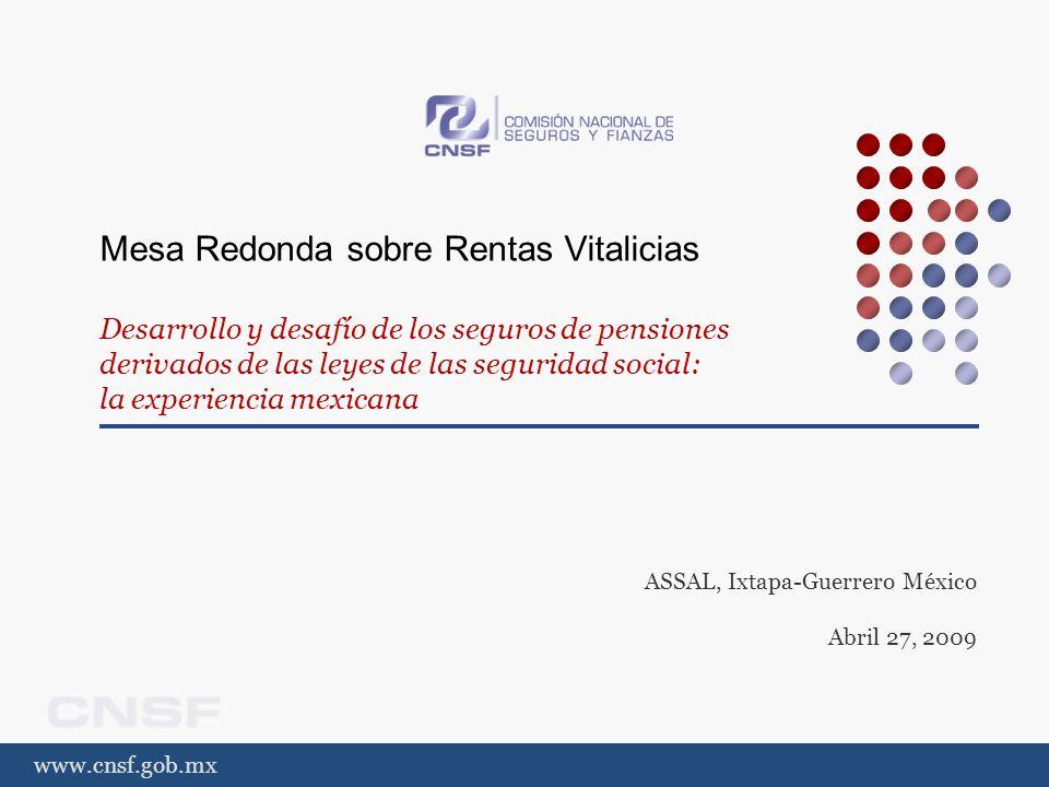www.cnsf.gob.mx Mesa Redonda sobre Rentas Vitalicias Desarrollo y desafío de los seguros de pensiones derivados de las leyes de las seguridad social: