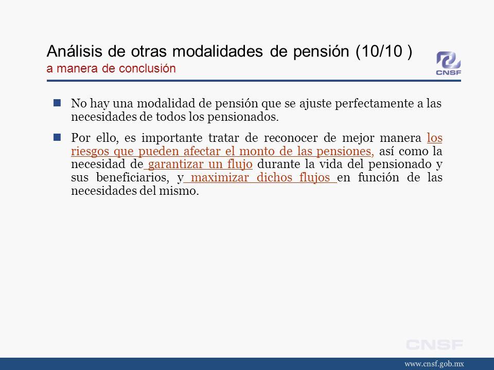 Análisis de otras modalidades de pensión (10/10 ) a manera de conclusión No hay una modalidad de pensión que se ajuste perfectamente a las necesidades