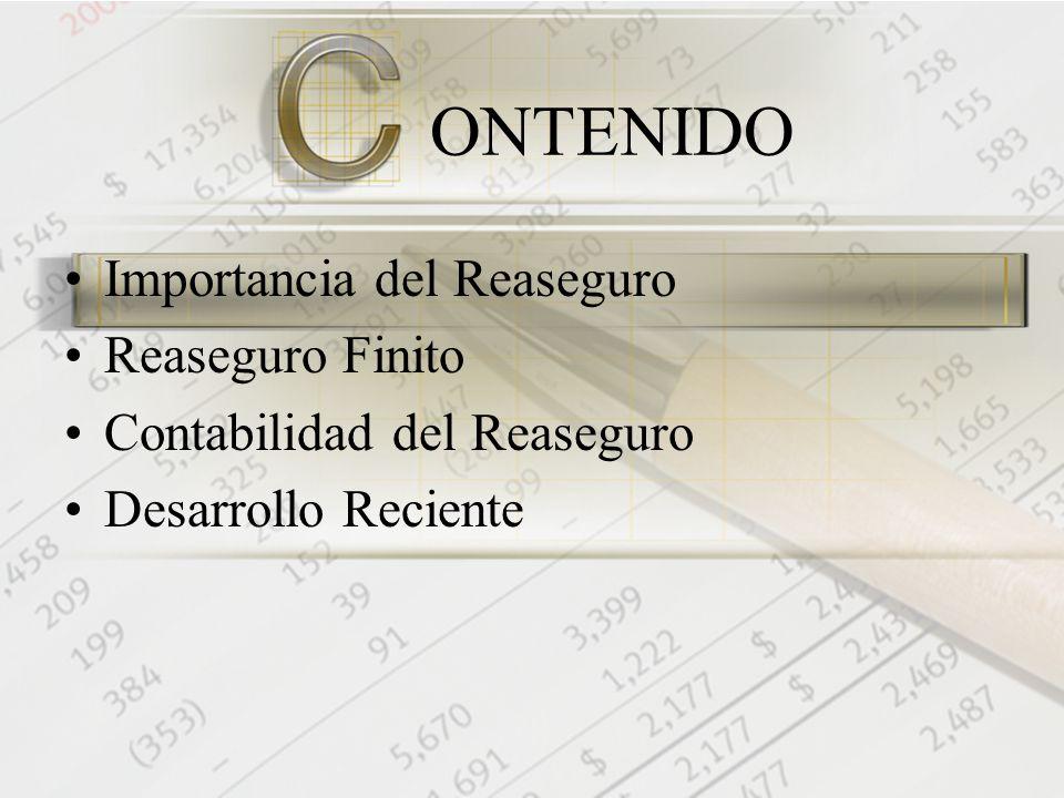 ONTENIDO Importancia del Reaseguro Reaseguro Finito Contabilidad del Reaseguro Desarrollo Reciente