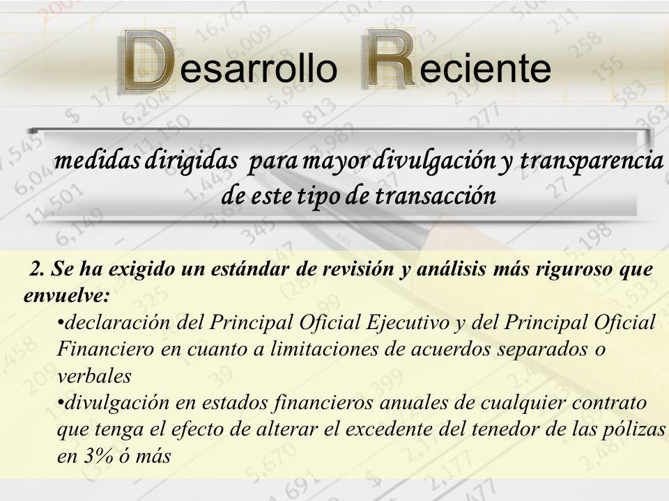 medidas dirigidas para mayor divulgación y transparencia de este tipo de transacción 2.