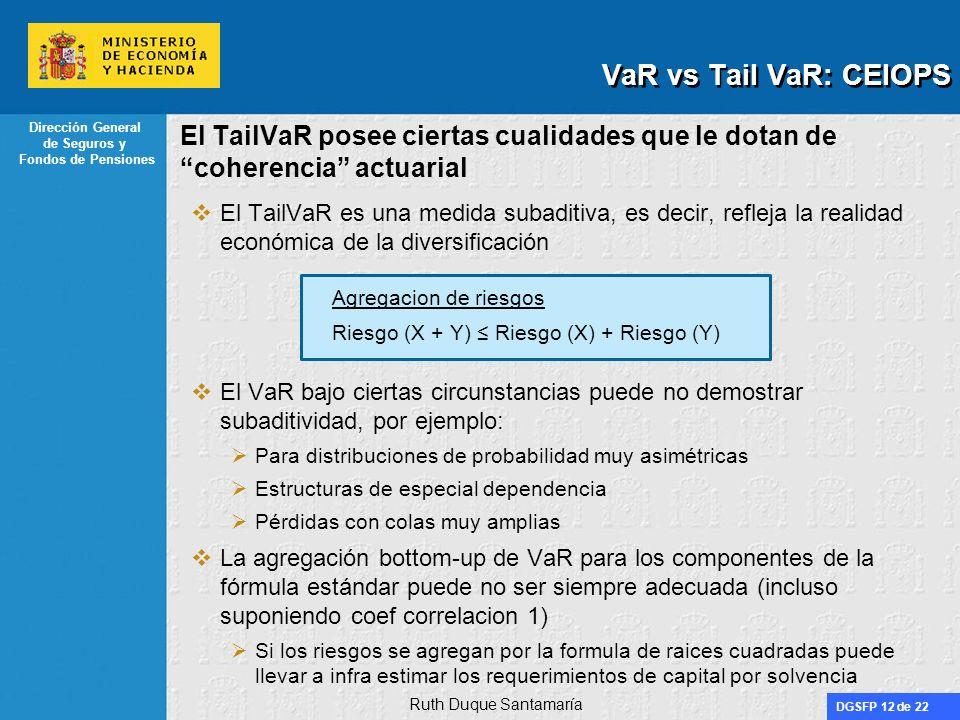 DGSFP 12 de 22 Dirección General de Seguros y Fondos de Pensiones El TailVaR posee ciertas cualidades que le dotan de coherencia actuarial El TailVaR