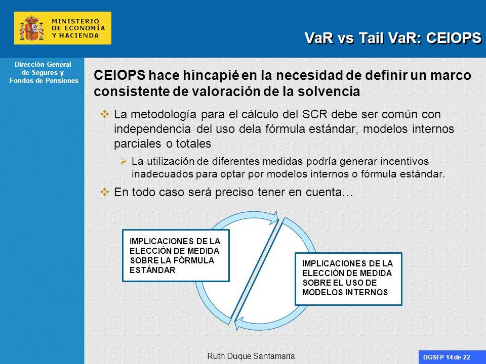 DGSFP 14 de 22 Dirección General de Seguros y Fondos de Pensiones CEIOPS hace hincapié en la necesidad de definir un marco consistente de valoración d