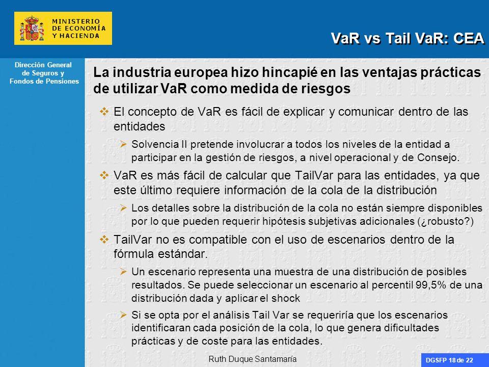DGSFP 18 de 22 Dirección General de Seguros y Fondos de Pensiones La industria europea hizo hincapié en las ventajas prácticas de utilizar VaR como me
