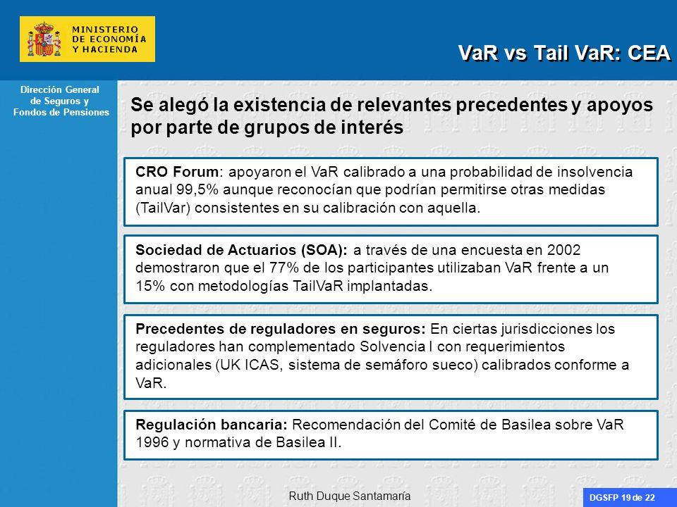 DGSFP 19 de 22 Dirección General de Seguros y Fondos de Pensiones Se alegó la existencia de relevantes precedentes y apoyos por parte de grupos de int