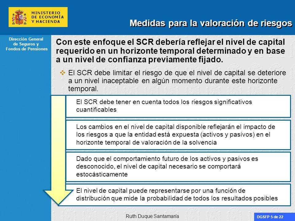 DGSFP 5 de 22 Dirección General de Seguros y Fondos de Pensiones Con este enfoque el SCR debería reflejar el nivel de capital requerido en un horizont