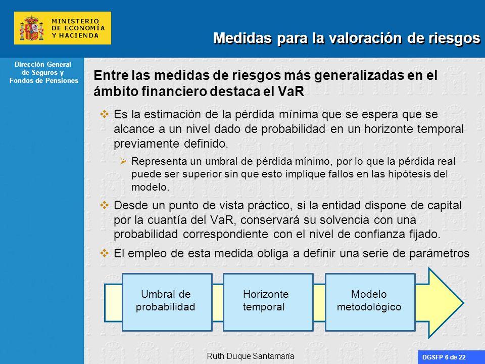 DGSFP 17 de 22 Dirección General de Seguros y Fondos de Pensiones Estructura del documento Algunas medidas para la valoración de riesgos VaR vs TailVaR en el ámbito de Solvencia II El enfoque de CEIOPS El enfoque de la industria Conclusiones Ruth Duque Santamaría