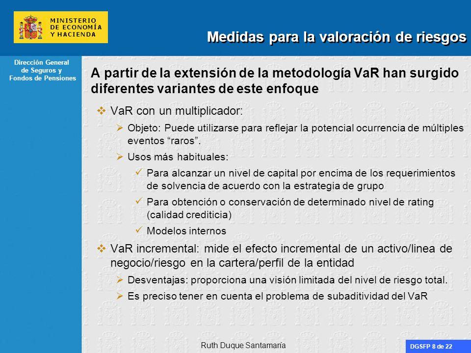 DGSFP 8 de 22 Dirección General de Seguros y Fondos de Pensiones A partir de la extensión de la metodología VaR han surgido diferentes variantes de es