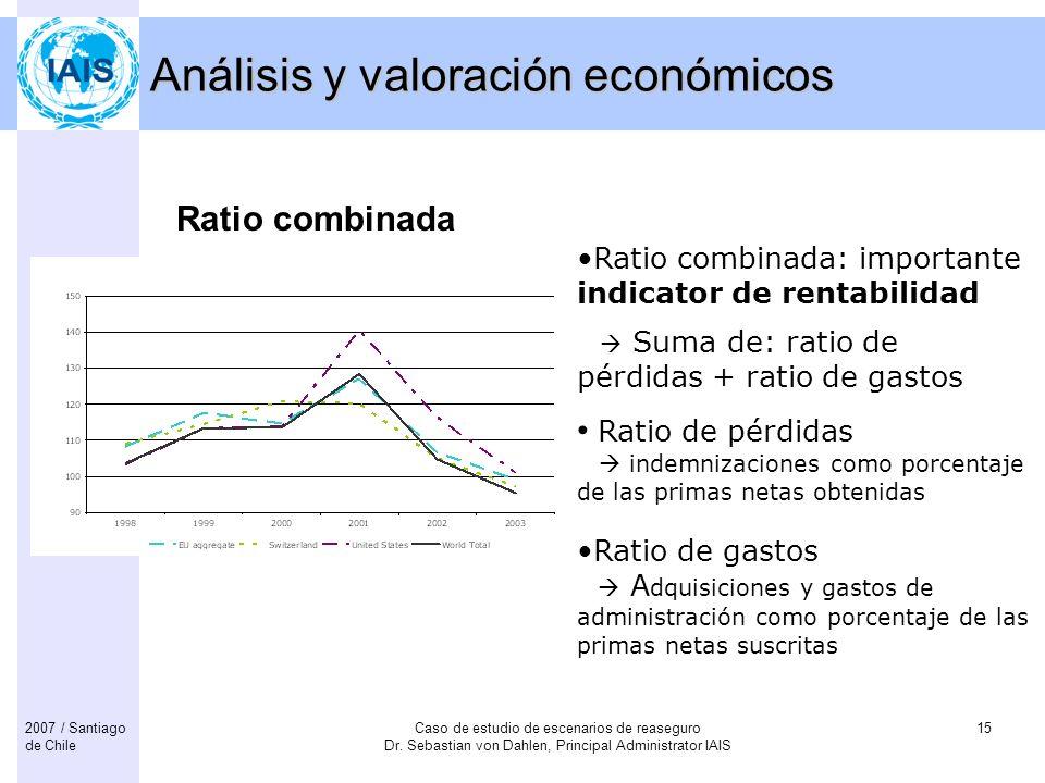 Caso de estudio de escenarios de reaseguro Dr. Sebastian von Dahlen, Principal Administrator IAIS 152007 / Santiago de Chile Análisis y valoración eco