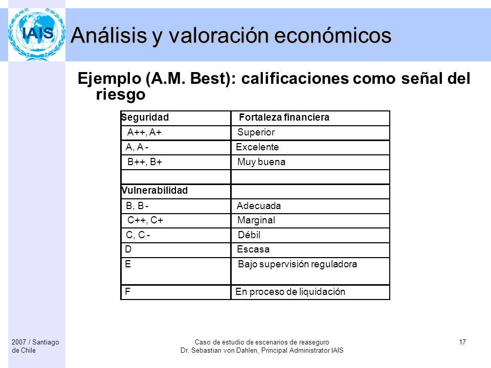 Caso de estudio de escenarios de reaseguro Dr. Sebastian von Dahlen, Principal Administrator IAIS 172007 / Santiago de Chile Análisis y valoración eco