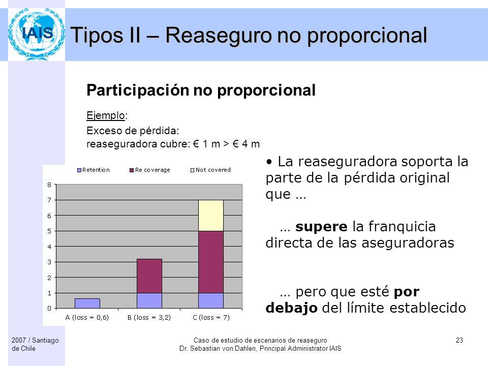 Caso de estudio de escenarios de reaseguro Dr. Sebastian von Dahlen, Principal Administrator IAIS 232007 / Santiago de Chile Tipos II – Reaseguro no p