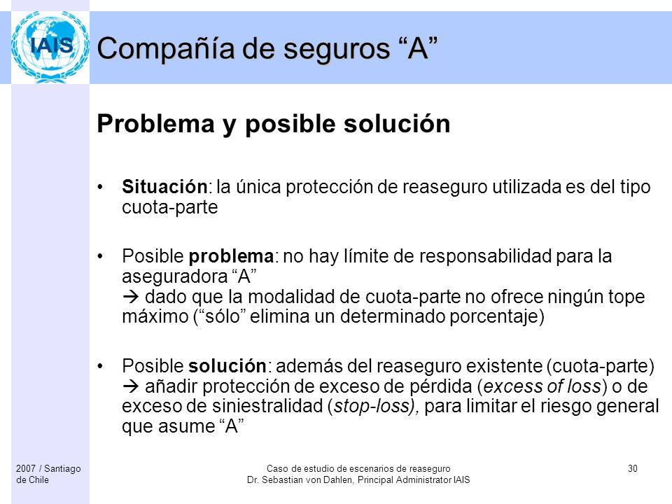Caso de estudio de escenarios de reaseguro Dr. Sebastian von Dahlen, Principal Administrator IAIS 302007 / Santiago de Chile Compañía de seguros A Pro