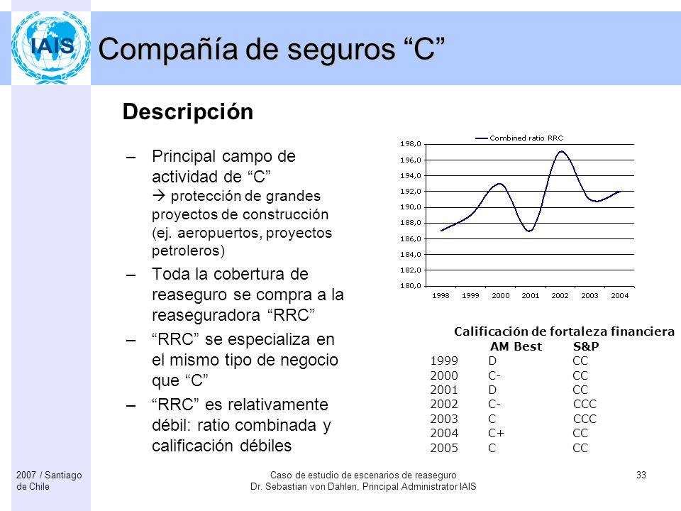 Caso de estudio de escenarios de reaseguro Dr. Sebastian von Dahlen, Principal Administrator IAIS 332007 / Santiago de Chile Compañía de seguros C –Pr