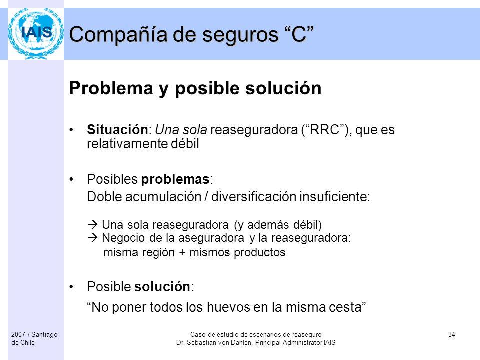 Caso de estudio de escenarios de reaseguro Dr. Sebastian von Dahlen, Principal Administrator IAIS 342007 / Santiago de Chile Compañía de seguros C Pro