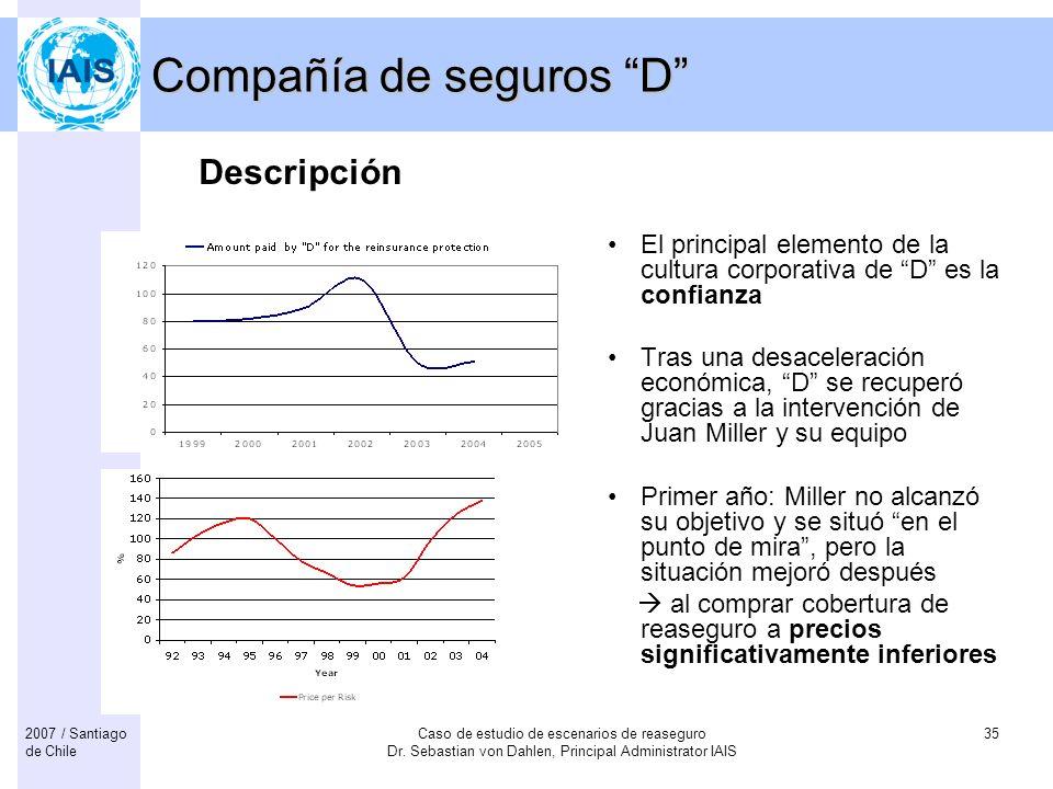 Caso de estudio de escenarios de reaseguro Dr. Sebastian von Dahlen, Principal Administrator IAIS 352007 / Santiago de Chile Compañía de seguros D El