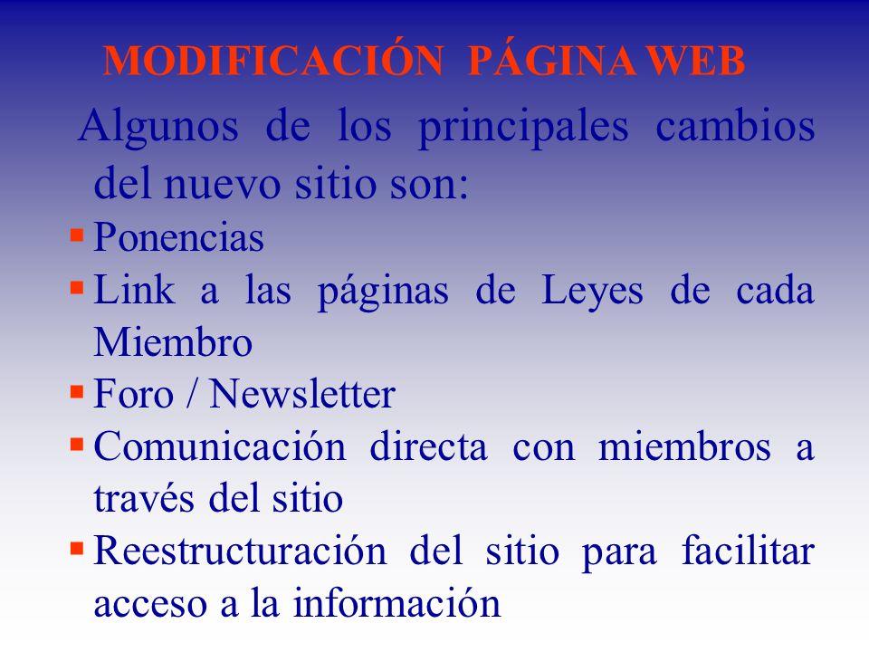 MODIFICACIÓN PÁGINA WEB Algunos de los principales cambios del nuevo sitio son: Ponencias Link a las páginas de Leyes de cada Miembro Foro / Newsletter Comunicación directa con miembros a través del sitio Reestructuración del sitio para facilitar acceso a la información