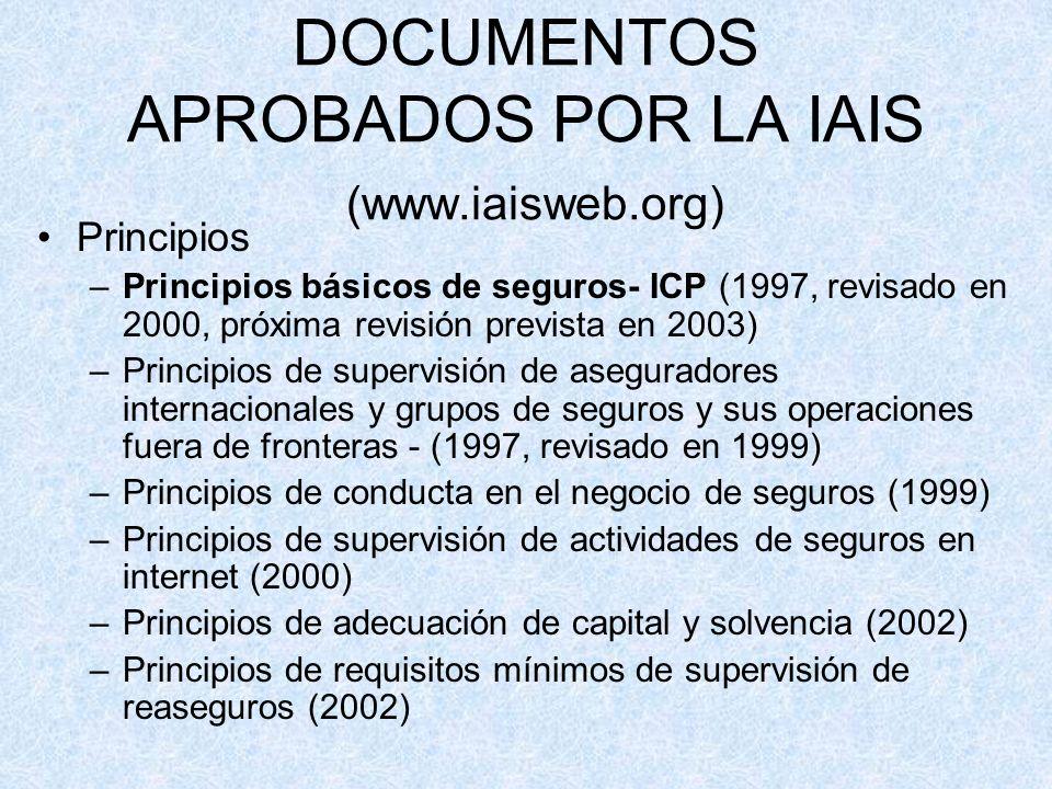DOCUMENTOS APROBADOS POR LA IAIS (www.iaisweb.org) Principios –Principios básicos de seguros- ICP (1997, revisado en 2000, próxima revisión prevista en 2003) –Principios de supervisión de aseguradores internacionales y grupos de seguros y sus operaciones fuera de fronteras - (1997, revisado en 1999) –Principios de conducta en el negocio de seguros (1999) –Principios de supervisión de actividades de seguros en internet (2000) –Principios de adecuación de capital y solvencia (2002) –Principios de requisitos mínimos de supervisión de reaseguros (2002)