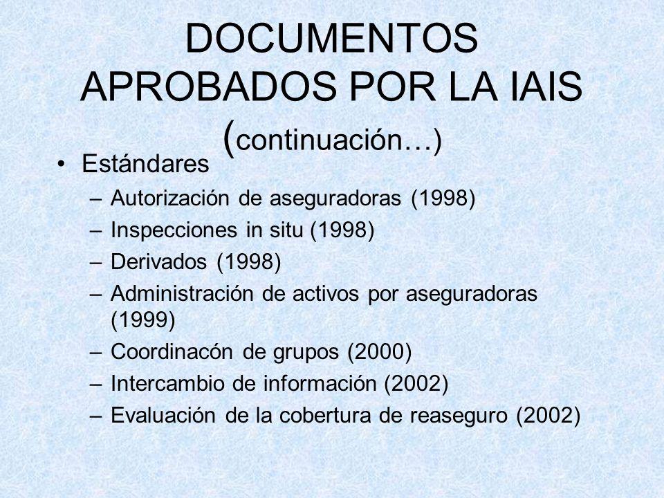 DOCUMENTOS APROBADOS POR LA IAIS ( continuación…) Estándares –Autorización de aseguradoras (1998) –Inspecciones in situ (1998) –Derivados (1998) –Administración de activos por aseguradoras (1999) –Coordinacón de grupos (2000) –Intercambio de información (2002) –Evaluación de la cobertura de reaseguro (2002)