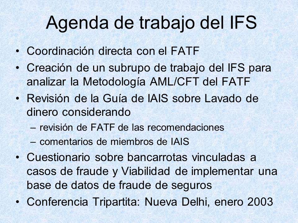 Agenda de trabajo del IFS Coordinación directa con el FATF Creación de un subrupo de trabajo del IFS para analizar la Metodología AML/CFT del FATF Revisión de la Guía de IAIS sobre Lavado de dinero considerando –revisión de FATF de las recomendaciones –comentarios de miembros de IAIS Cuestionario sobre bancarrotas vinculadas a casos de fraude y Viabilidad de implementar una base de datos de fraude de seguros Conferencia Tripartita: Nueva Delhi, enero 2003