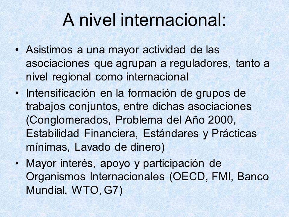 A nivel internacional: Asistimos a una mayor actividad de las asociaciones que agrupan a reguladores, tanto a nivel regional como internacional Intensificación en la formación de grupos de trabajos conjuntos, entre dichas asociaciones (Conglomerados, Problema del Año 2000, Estabilidad Financiera, Estándares y Prácticas mínimas, Lavado de dinero) Mayor interés, apoyo y participación de Organismos Internacionales (OECD, FMI, Banco Mundial, WTO, G7)