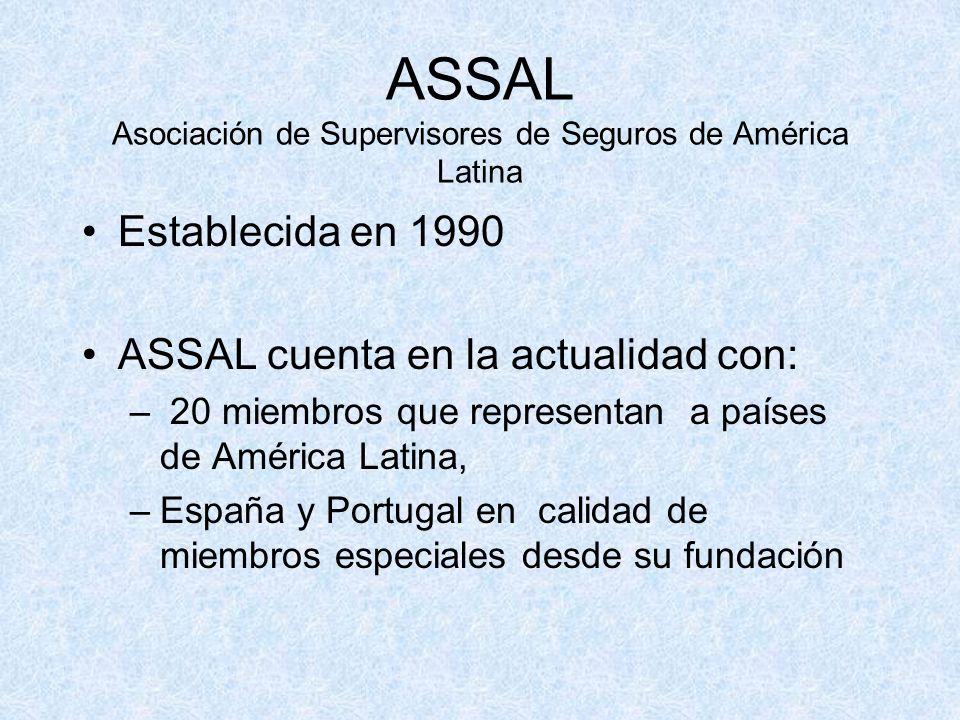 ASSAL Asociación de Supervisores de Seguros de América Latina Establecida en 1990 ASSAL cuenta en la actualidad con: – 20 miembros que representan a países de América Latina, –España y Portugal en calidad de miembros especiales desde su fundación