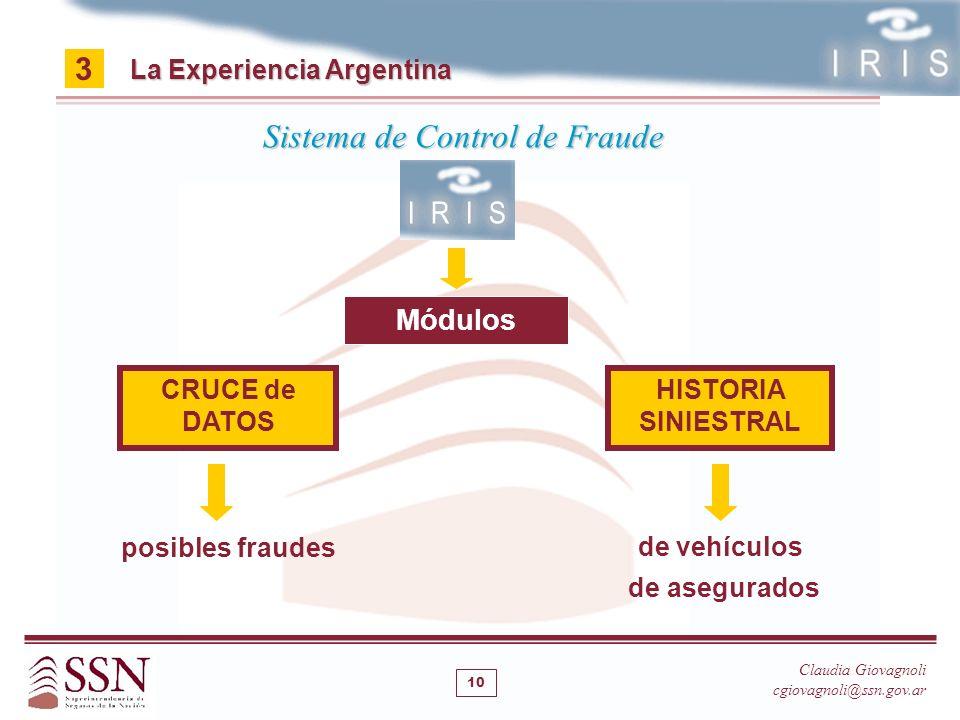 CRUCE de DATOS La Experiencia Argentina 3 Claudia Giovagnoli cgiovagnoli@ssn.gov.ar Sistema de Control de Fraude HISTORIA SINIESTRAL Módulos posibles