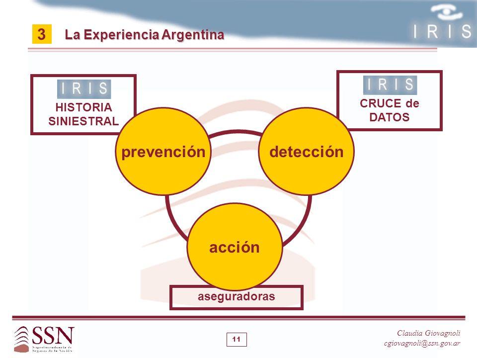 Claudia Giovagnoli cgiovagnoli@ssn.gov.ar aseguradoras 11 acción CRUCE de DATOS La Experiencia Argentina 3 HISTORIA SINIESTRAL prevencióndetección