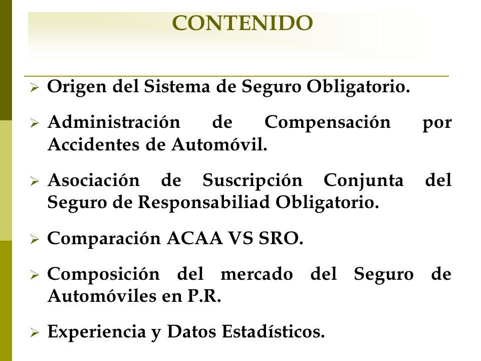 Origen del Sistema de Seguro Obligatorio. Administración de Compensación por Accidentes de Automóvil. Asociación de Suscripción Conjunta del Seguro de