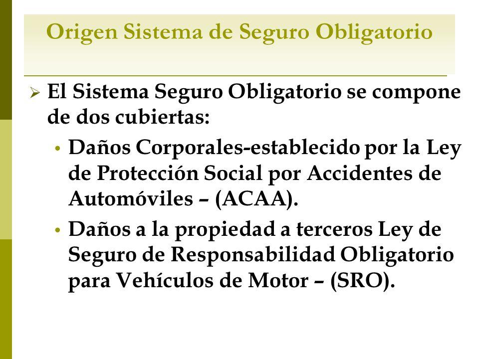 Origen Sistema de Seguro Obligatorio El Sistema Seguro Obligatorio se compone de dos cubiertas: Daños Corporales-establecido por la Ley de Protección