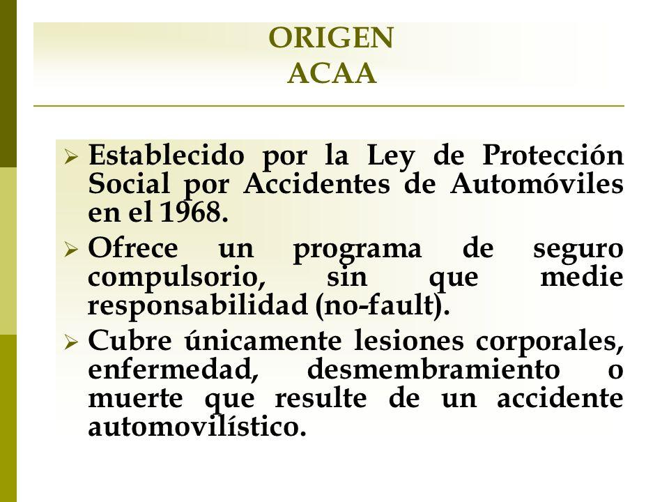 ORIGEN ACAA Establecido por la Ley de Protección Social por Accidentes de Automóviles en el 1968. Ofrece un programa de seguro compulsorio, sin que me