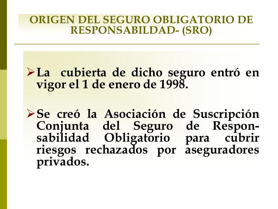 ORIGEN DEL SEGURO OBLIGATORIO DE RESPONSABILDAD- (SRO) La cubierta de dicho seguro entró en vigor el 1 de enero de 1998. Se creó la Asociación de Susc