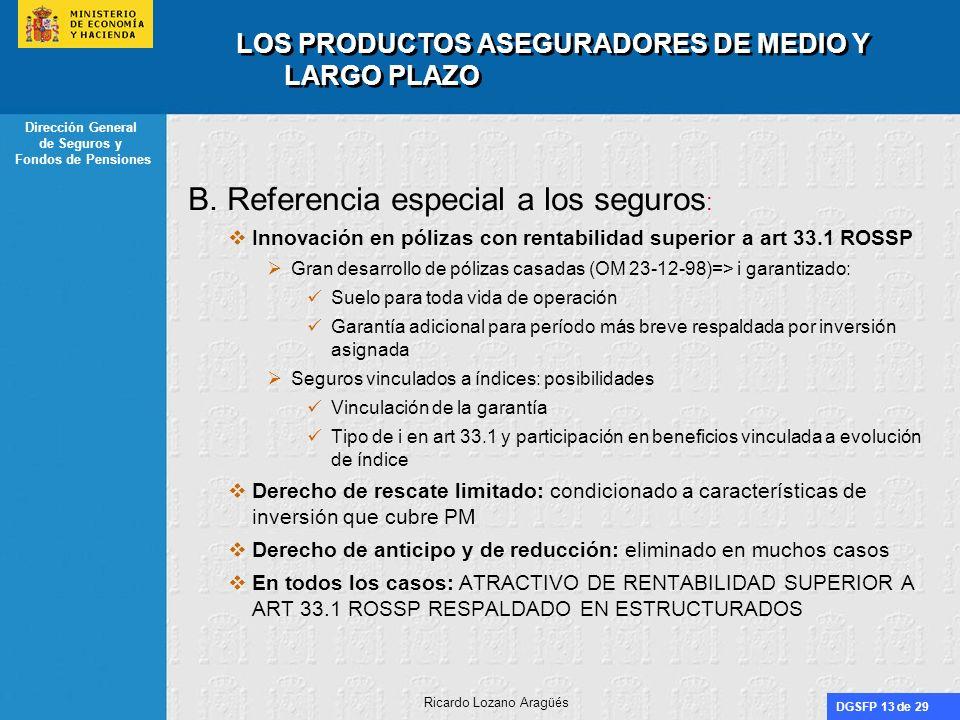 DGSFP 13 de 29 Dirección General de Seguros y Fondos de Pensiones Ricardo Lozano Aragüés LOS PRODUCTOS ASEGURADORES DE MEDIO Y LARGO PLAZO B. Referenc