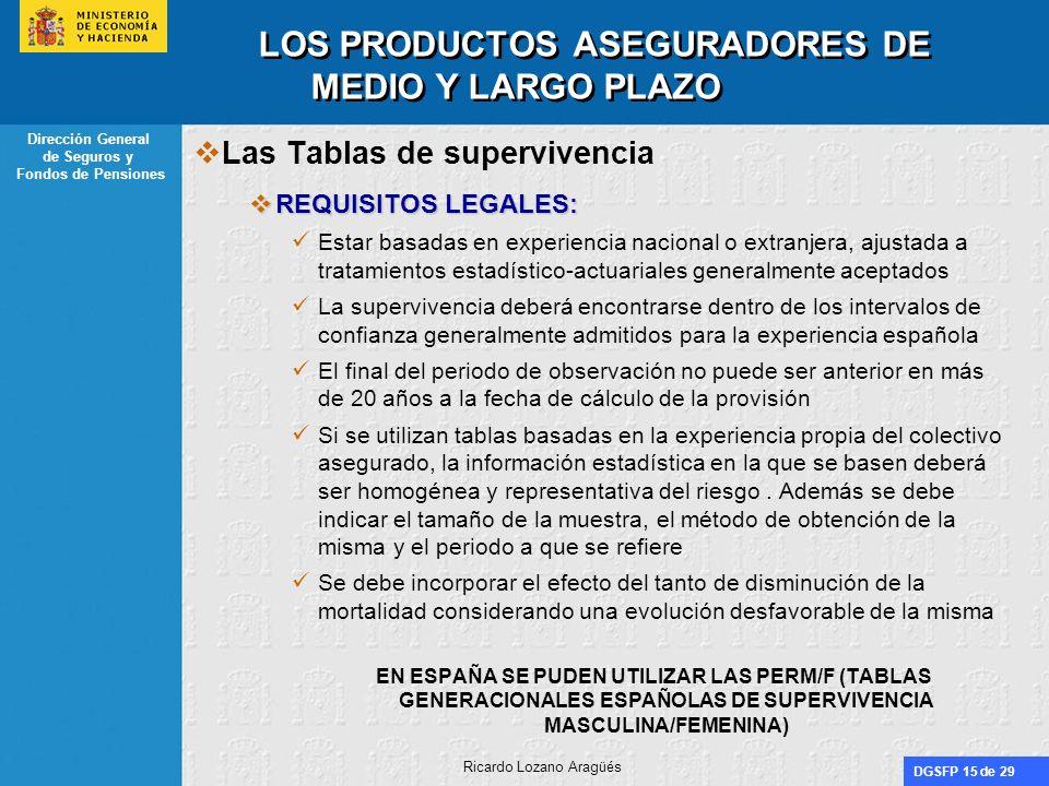 DGSFP 15 de 29 Dirección General de Seguros y Fondos de Pensiones Ricardo Lozano Aragüés LOS PRODUCTOS ASEGURADORES DE MEDIO Y LARGO PLAZO Las Tablas