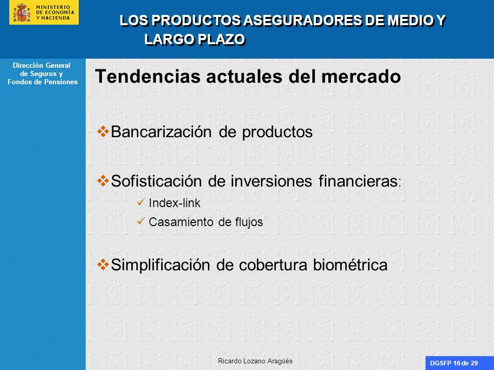 DGSFP 16 de 29 Dirección General de Seguros y Fondos de Pensiones Ricardo Lozano Aragüés LOS PRODUCTOS ASEGURADORES DE MEDIO Y LARGO PLAZO Tendencias