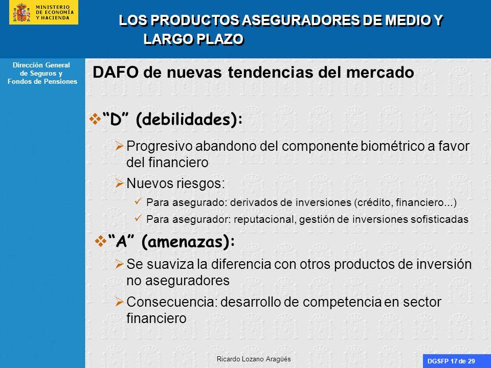 DGSFP 17 de 29 Dirección General de Seguros y Fondos de Pensiones Ricardo Lozano Aragüés LOS PRODUCTOS ASEGURADORES DE MEDIO Y LARGO PLAZO DAFO de nue