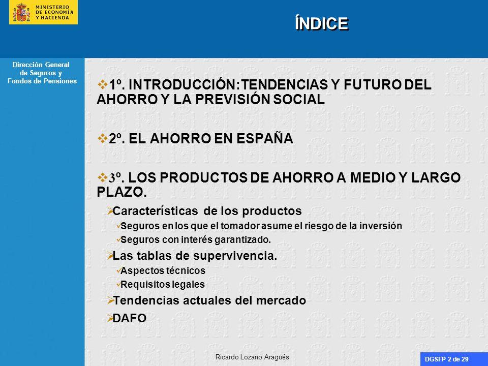 DGSFP 2 de 29 Dirección General de Seguros y Fondos de Pensiones Ricardo Lozano Aragüés ÍNDICE 1º. INTRODUCCIÓN:TENDENCIAS Y FUTURO DEL AHORRO Y LA PR
