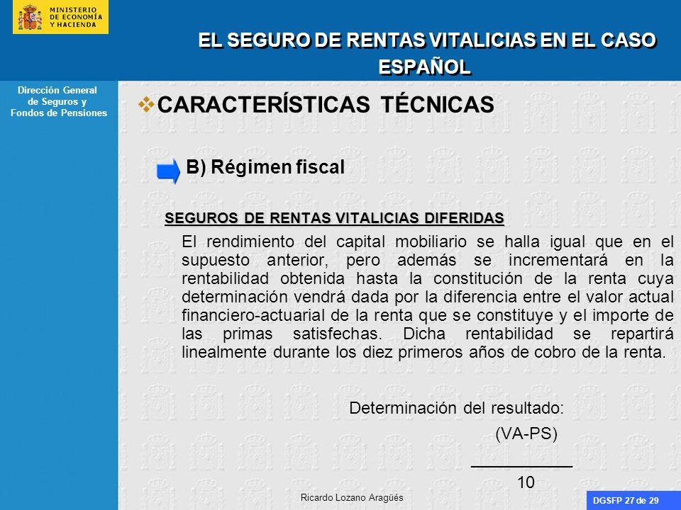 DGSFP 27 de 29 Dirección General de Seguros y Fondos de Pensiones Ricardo Lozano Aragüés EL SEGURO DE RENTAS VITALICIAS EN EL CASO ESPAÑOL CARACTERÍST