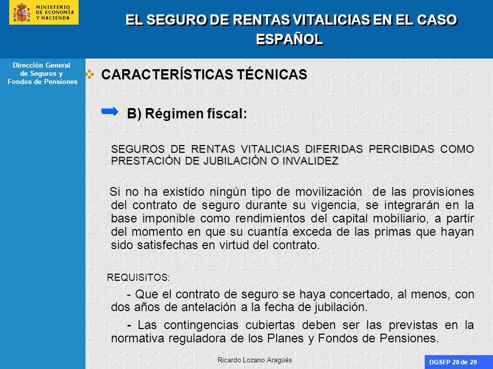 DGSFP 28 de 29 Dirección General de Seguros y Fondos de Pensiones Ricardo Lozano Aragüés EL SEGURO DE RENTAS VITALICIAS EN EL CASO ESPAÑOL CARACTERÍST
