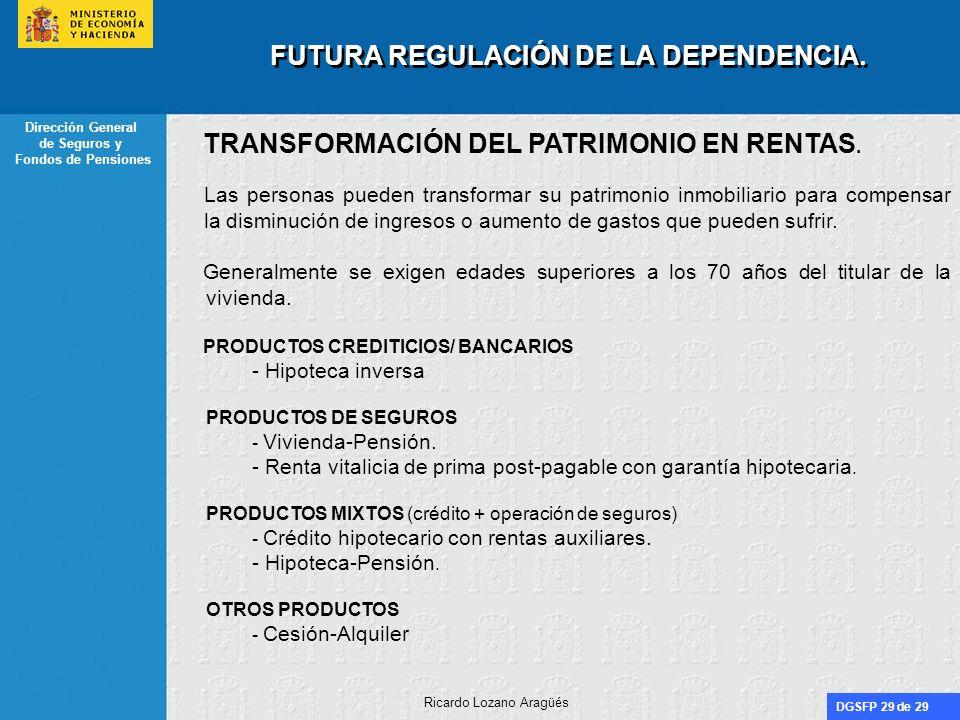 DGSFP 29 de 29 Dirección General de Seguros y Fondos de Pensiones Ricardo Lozano Aragüés FUTURA REGULACIÓN DE LA DEPENDENCIA. TRANSFORMACIÓN DEL PATRI