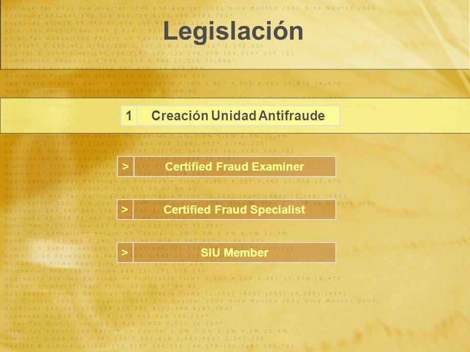 Legislación Creación Unidad Antifraude1 Certified Fraud Examiner Certified Fraud Specialist SIU Member > > >