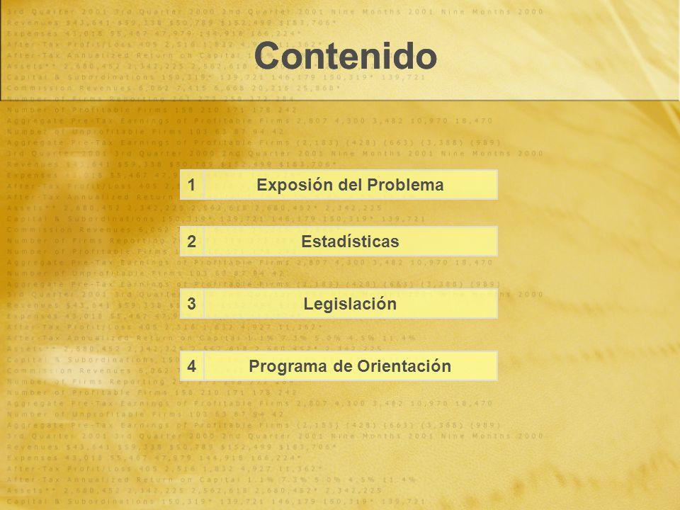 Contenido Estadísticas Legislación Exposión del Problema Programa de Orientación 1 2 3 4