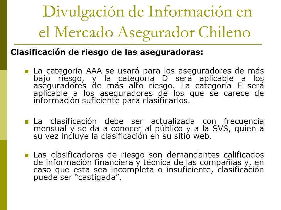 Divulgación de Información en el Mercado Asegurador Chileno Clasificación de riesgo de las aseguradoras: La categoría AAA se usará para los aseguradores de más bajo riesgo, y la categoría D será aplicable a los aseguradores de más alto riesgo.