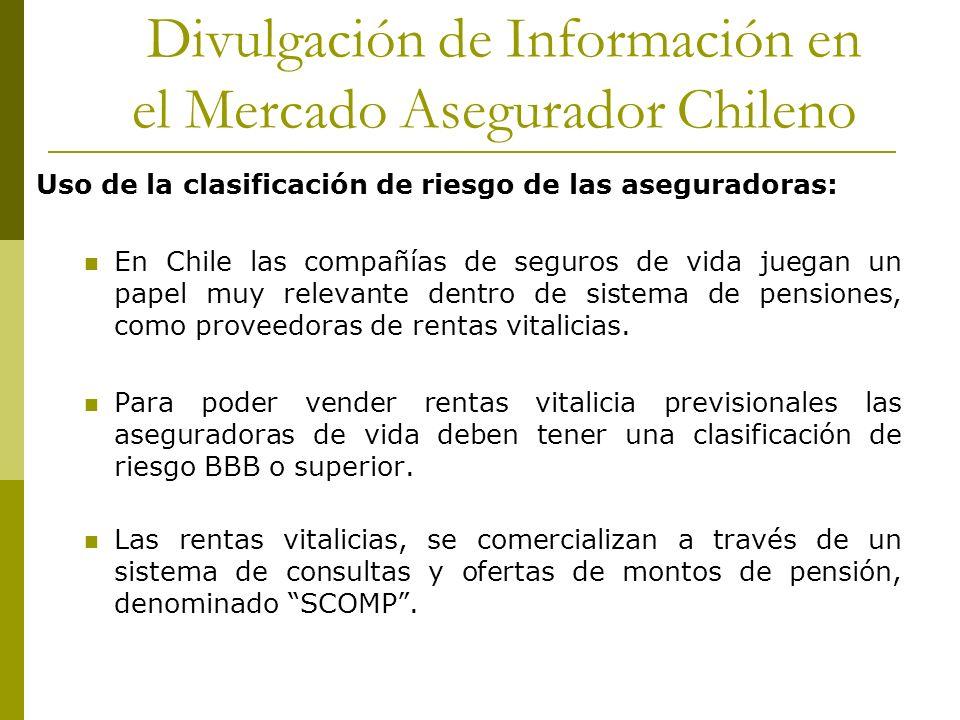 Divulgación de Información en el Mercado Asegurador Chileno Uso de la clasificación de riesgo de las aseguradoras: En Chile las compañías de seguros de vida juegan un papel muy relevante dentro de sistema de pensiones, como proveedoras de rentas vitalicias.