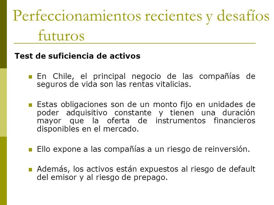 Test de suficiencia de activos En Chile, el principal negocio de las compañías de seguros de vida son las rentas vitalicias.