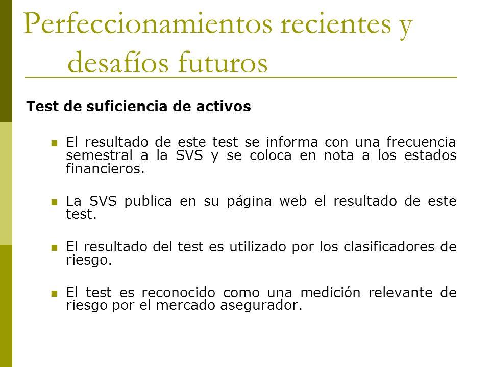Perfeccionamientos recientes y desafíos futuros Test de suficiencia de activos El resultado de este test se informa con una frecuencia semestral a la SVS y se coloca en nota a los estados financieros.