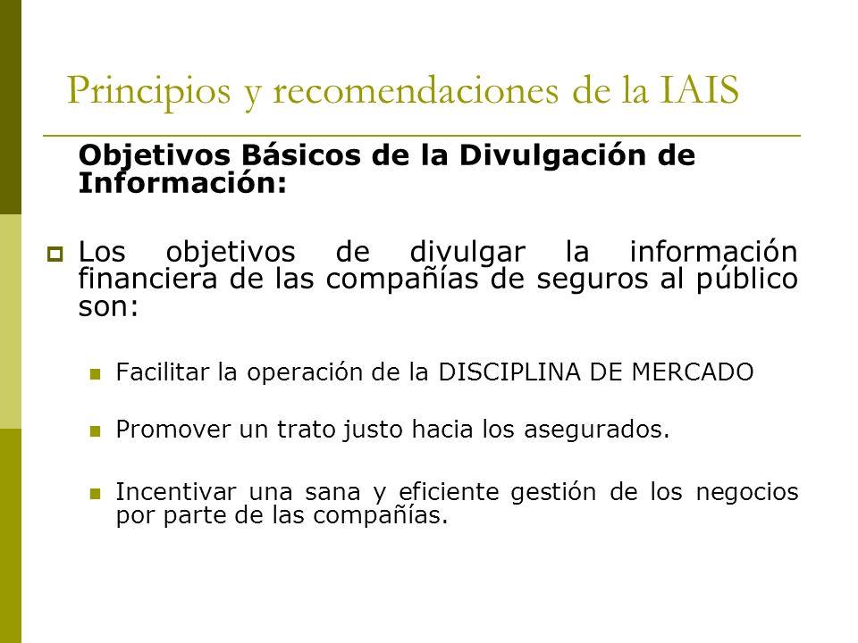 Principios y recomendaciones de la IAIS Objetivos Básicos de la Divulgación de Información: Los objetivos de divulgar la información financiera de las compañías de seguros al público son: Facilitar la operación de la DISCIPLINA DE MERCADO Promover un trato justo hacia los asegurados.