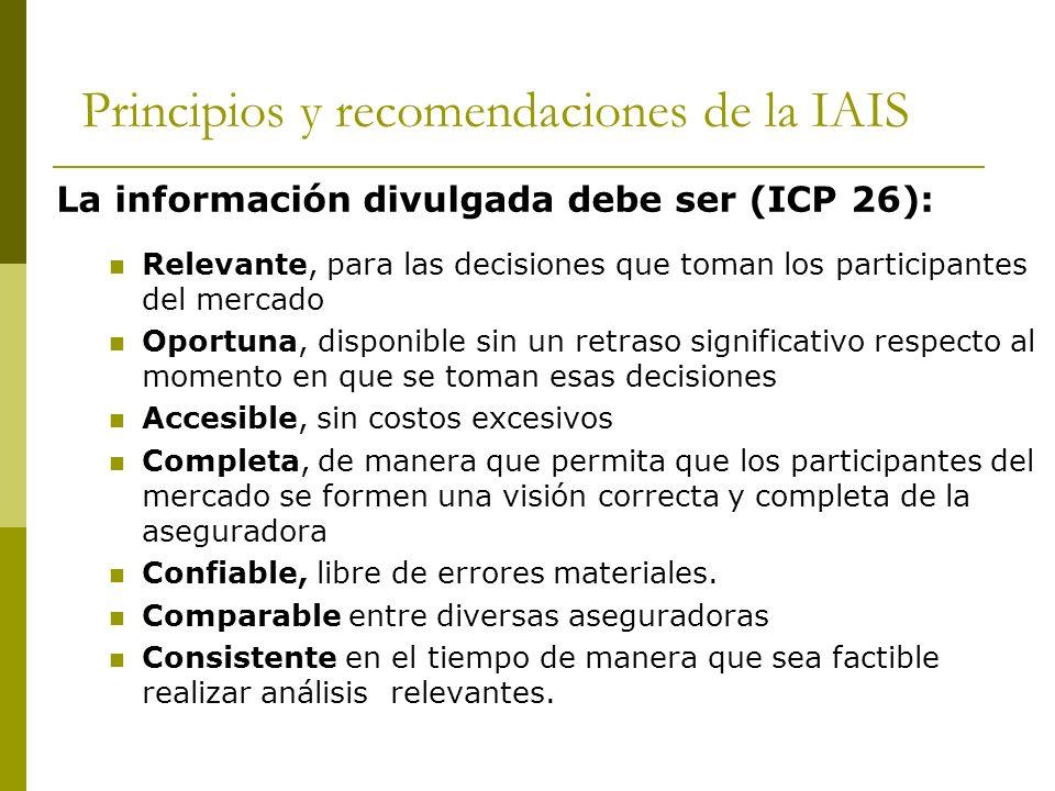 Principios y recomendaciones de la IAIS La información divulgada debe ser (ICP 26): Relevante, para las decisiones que toman los participantes del mercado Oportuna, disponible sin un retraso significativo respecto al momento en que se toman esas decisiones Accesible, sin costos excesivos Completa, de manera que permita que los participantes del mercado se formen una visión correcta y completa de la aseguradora Confiable, libre de errores materiales.