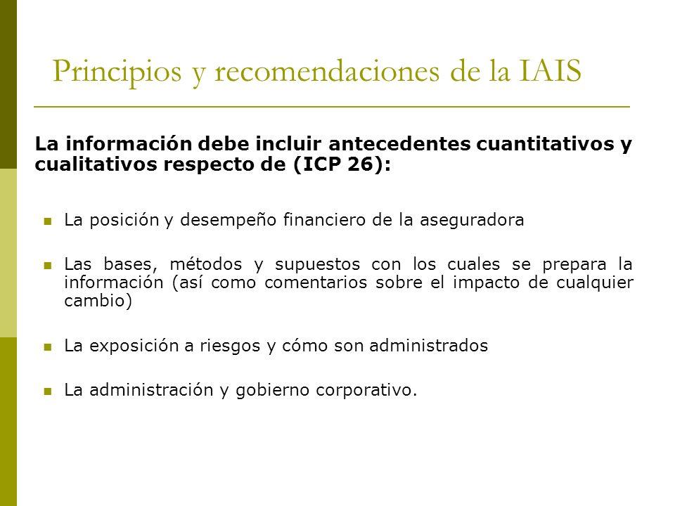 Principios y recomendaciones de la IAIS La información debe incluir antecedentes cuantitativos y cualitativos respecto de (ICP 26): La posición y desempeño financiero de la aseguradora Las bases, métodos y supuestos con los cuales se prepara la información (así como comentarios sobre el impacto de cualquier cambio) La exposición a riesgos y cómo son administrados La administración y gobierno corporativo.