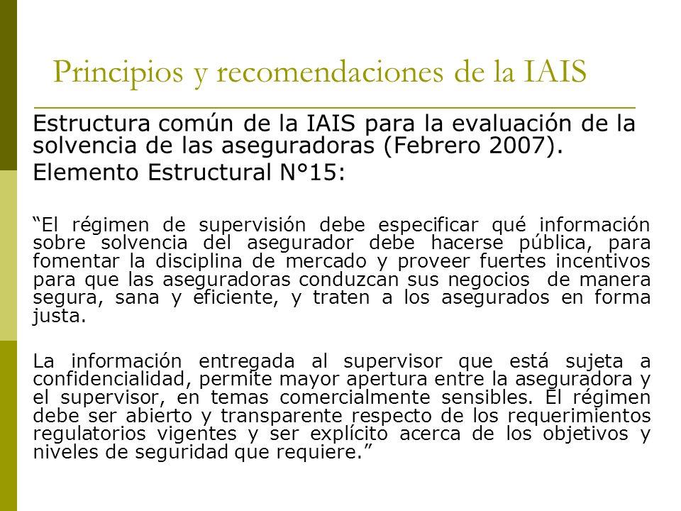 Principios y recomendaciones de la IAIS Estructura común de la IAIS para la evaluación de la solvencia de las aseguradoras (Febrero 2007).