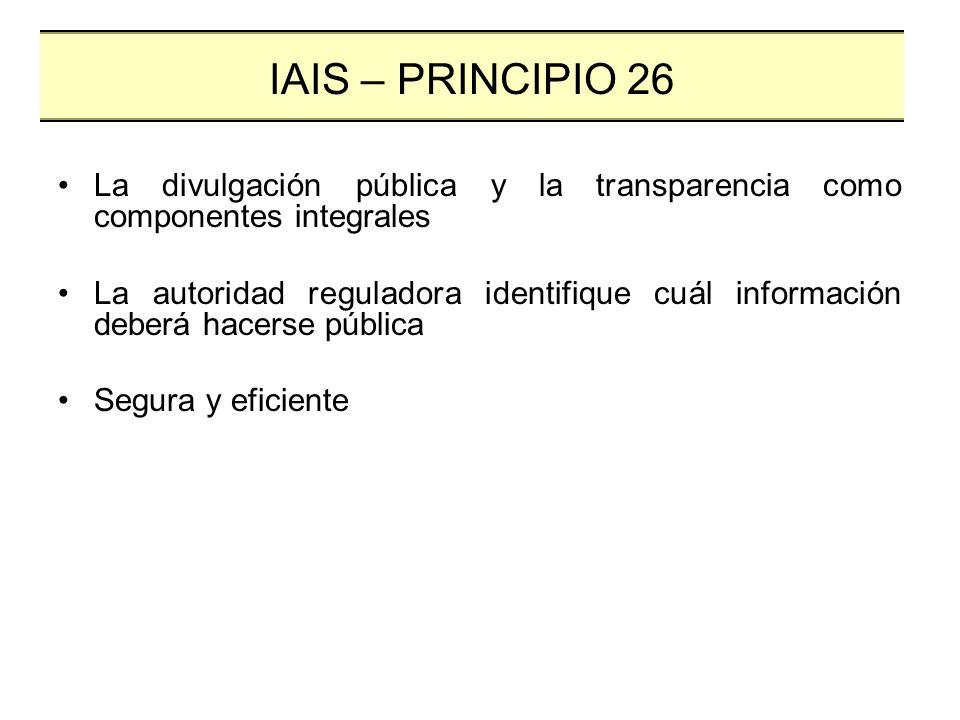 La divulgación pública y la transparencia como componentes integrales La autoridad reguladora identifique cuál información deberá hacerse pública Segu